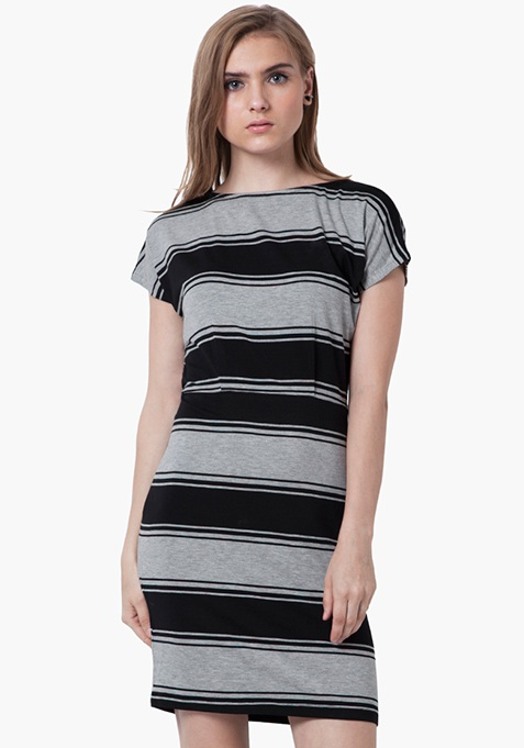 Tie-Back T-Shirt Dress - Grey