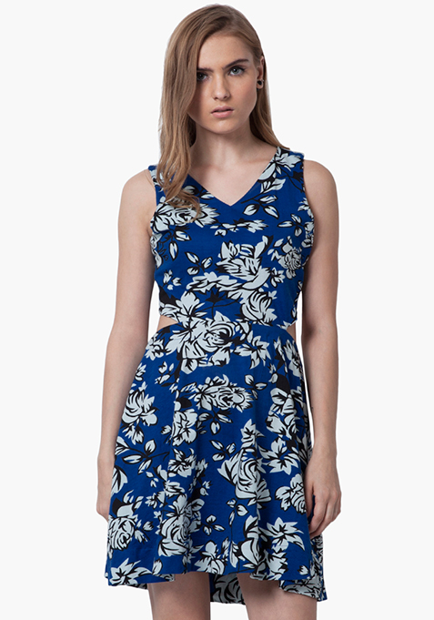 Peek-A-Boo Skater Dress - Floral