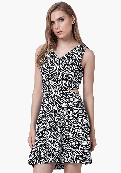 Peek-A-Boo Skater Dress - Aztec