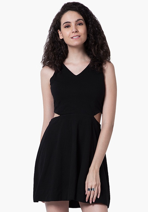 Peek-A-Boo Skater Dress - Black