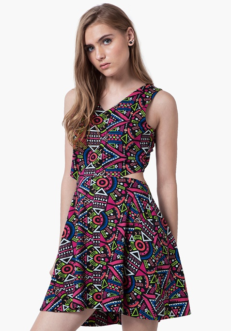 Peek-A-Boo Skater Dress - Tribal