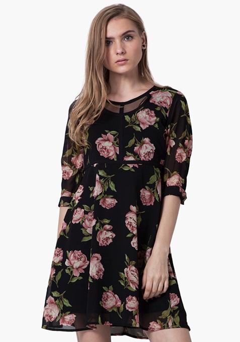 Peek-A-Boo Mesh Skater Dress - Floral