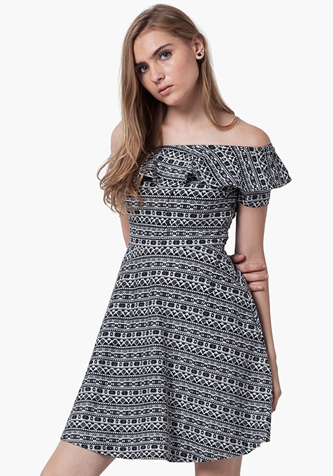 Off-Shoulder Ruffled Dress - Tribal