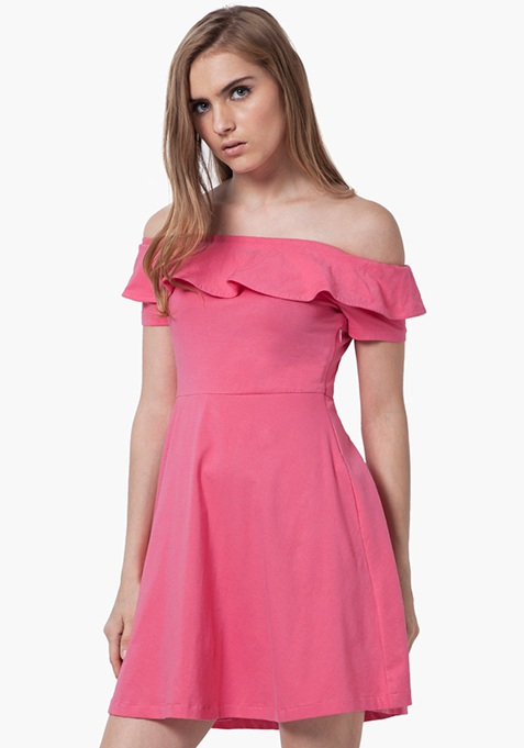 Off-Shoulder Ruffled Dress - Pink