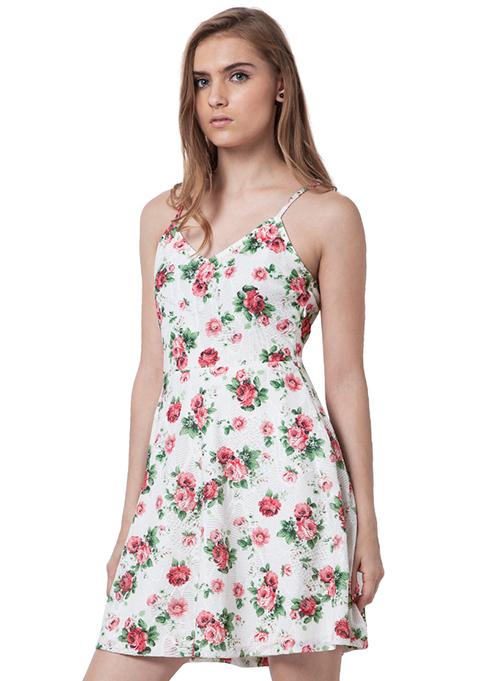 Strappy Sass Mini Dress - Floral