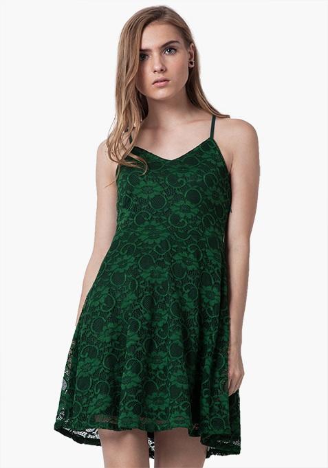 Strappy Lace Mini Dress - Green