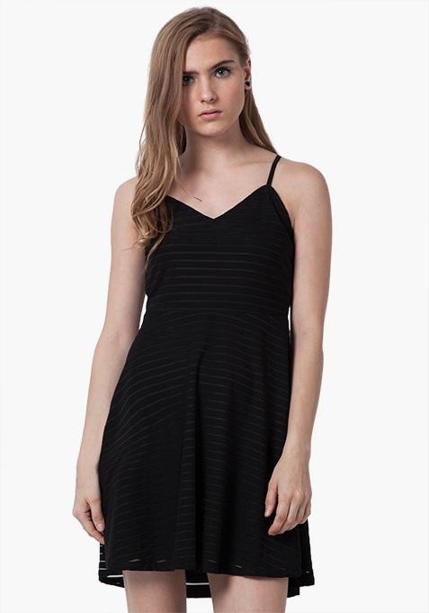 Strappy Mesh Mini Dress - Black