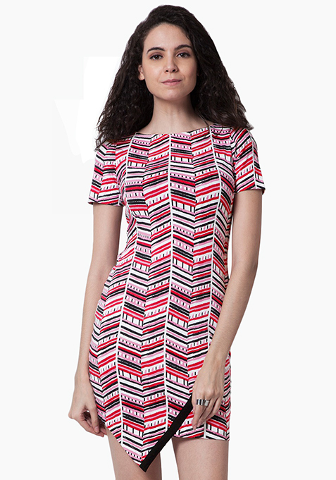 Overlap Bodycon Dress - Chevron