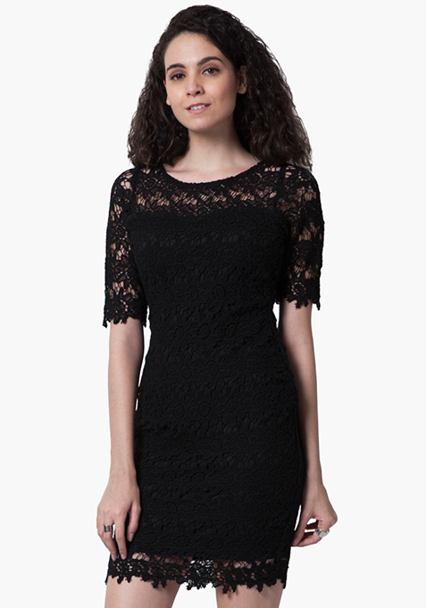 Floral Crochet Bodycon Dress - Black