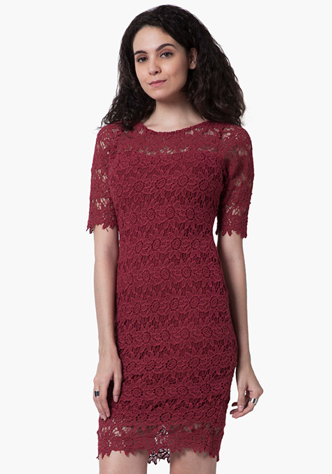 Floral Crochet Bodycon Dress - Oxblood