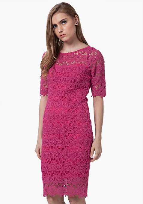 Floral Crochet Bodycon Dress - Pink