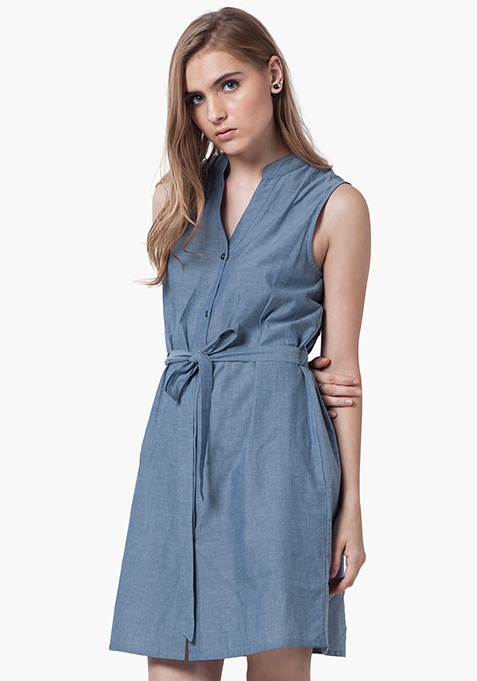 Denim Midi Shirt Dress - Light