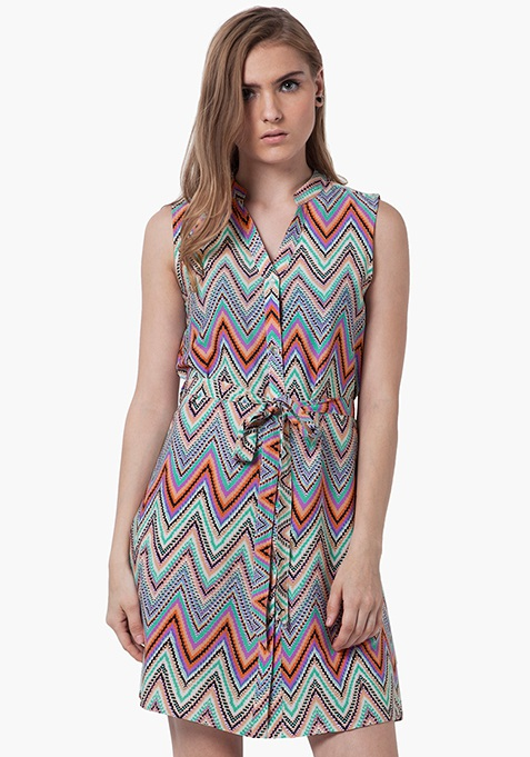 Midi Shirt Dress - Chevron