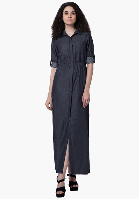 Denim Maxi Dress - Dark Wash
