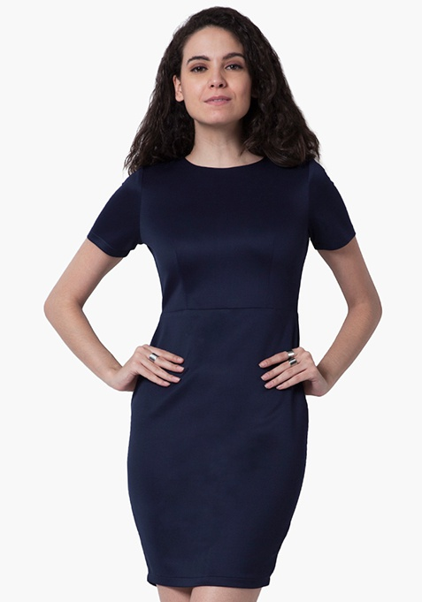 Navy Finesse Bodycon Dress