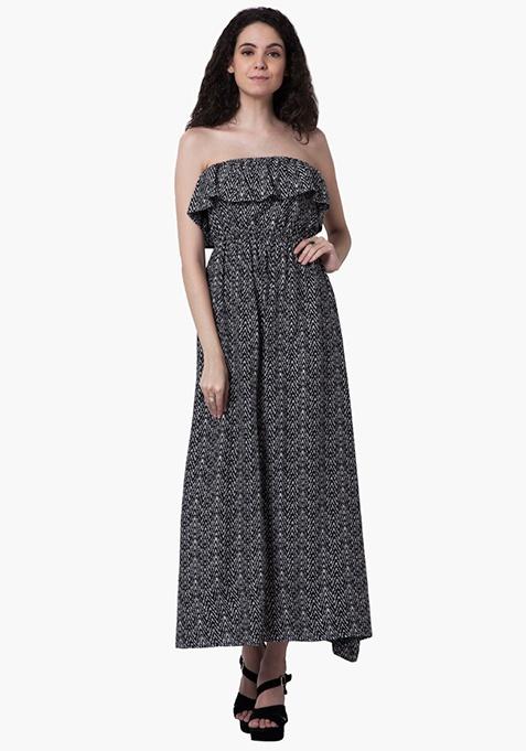 Off-Shoulder Ruffled Maxi Dress - Aztec
