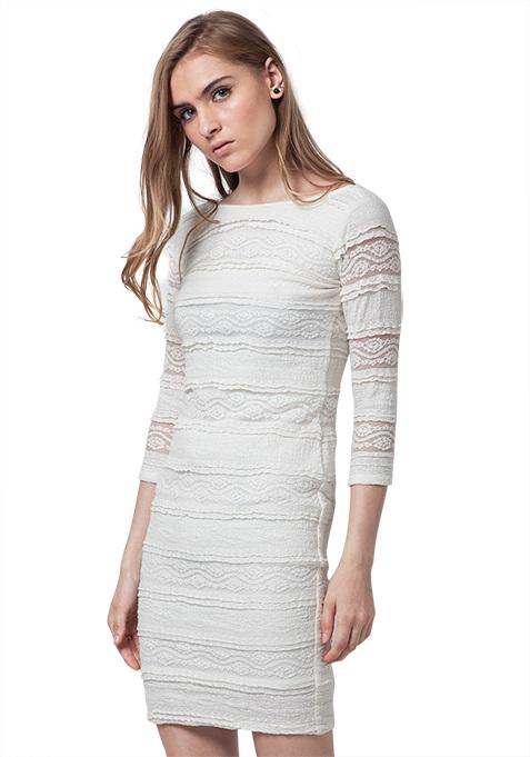 Lace Gaze Lace Mini Dress - White