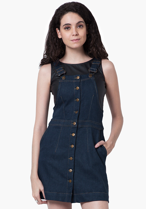 Denim Overall Dress - Dark