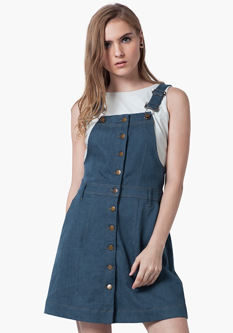 Denim Overall Dress - Light