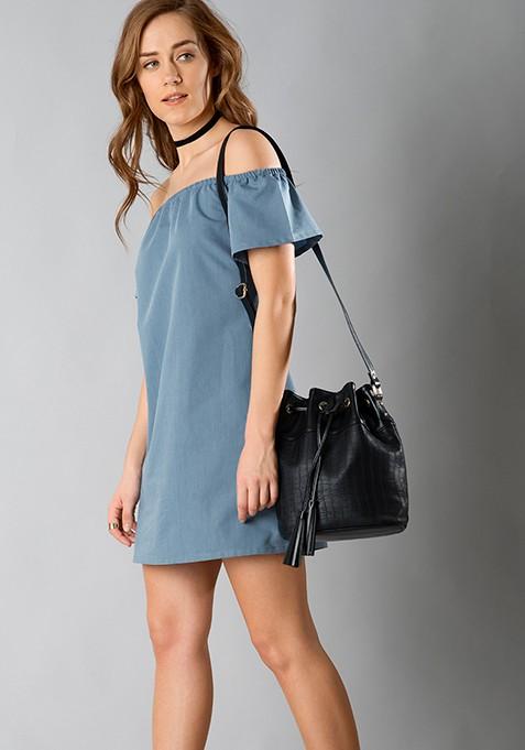Bardot Chambray Shift Dress