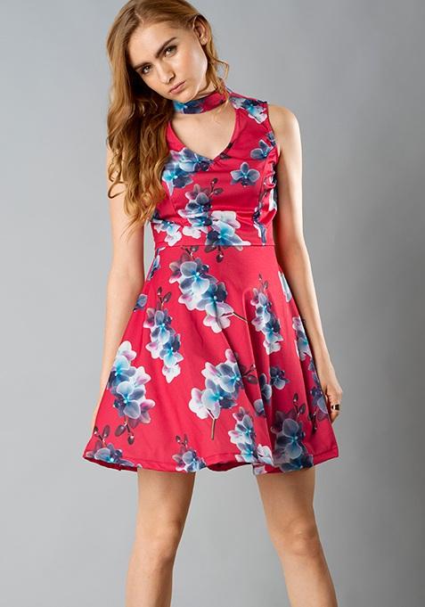 Choker Skater Dress - Red Floral