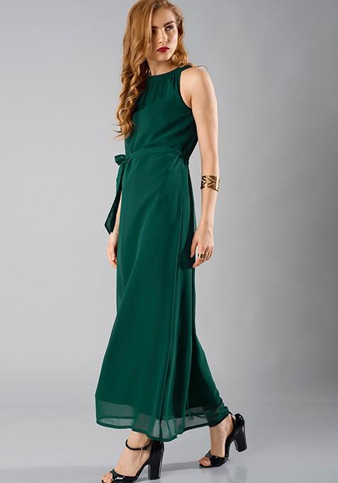 Halter Tie-Up Maxi Dress - Green