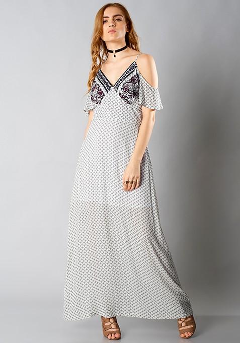 Cold-Shoulder Maxi Dress - Ethnic