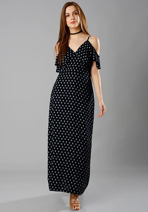 Cold Shoulder Maxi Dress - Geometric