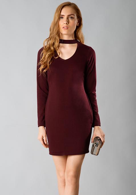 Choker Bodycon Dress - Oxblood