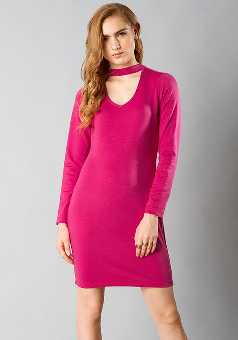 Choker Bodycon Dress - Pink