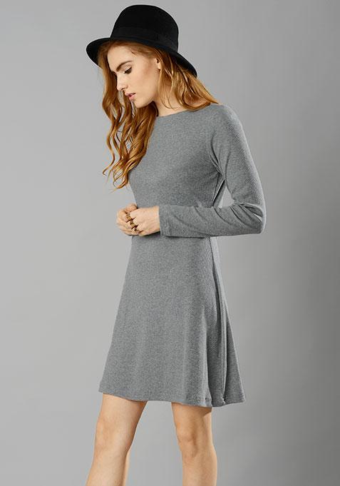 Grey Rib Skater Dress