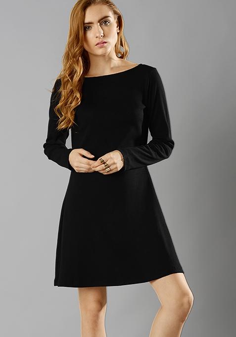 Black Rib Skater Dress