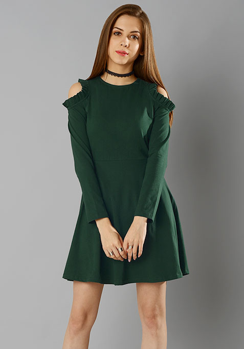 Cold Shoulder Mini Dress - Green