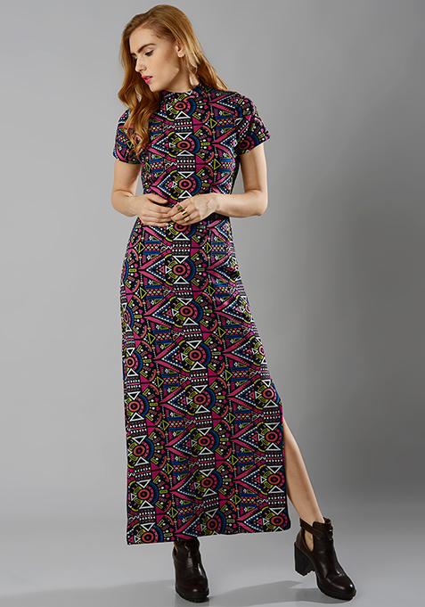 High-Neck Aztec Maxi Dress
