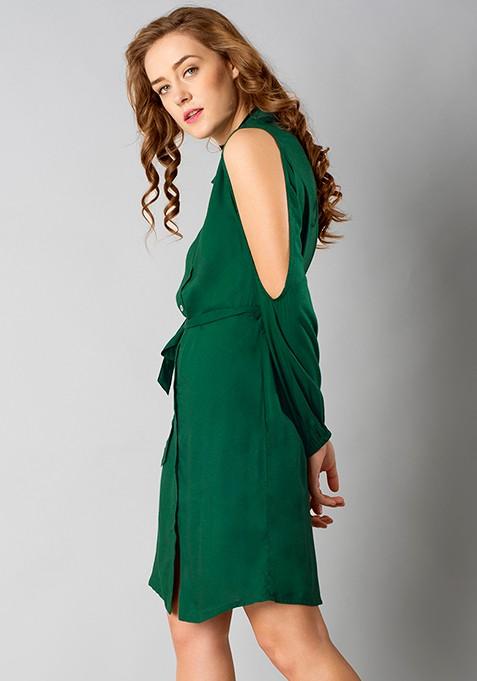 Cold-Shoulder Shirt Dress - Green