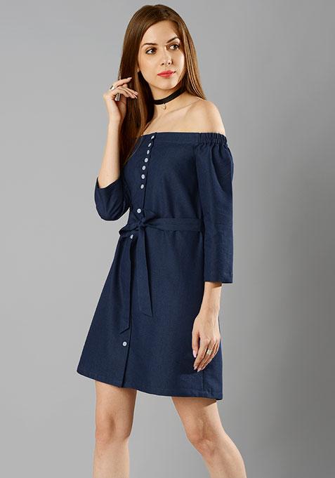 Bardot Chambray Shirt Dress - Dark Wash