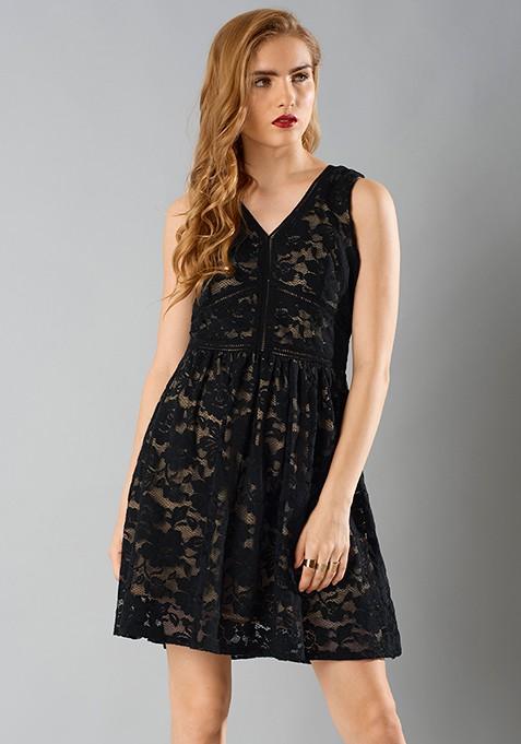 Naked Lace Dress - Black