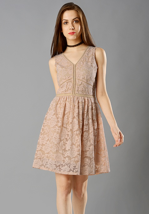 Ladder Lace Dress - Blush