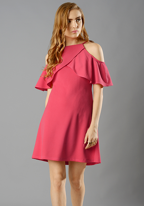 Ruffled Up A-Line Dress - Coral