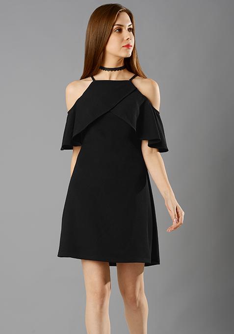 Ruffled Up A-Line Dress - Black