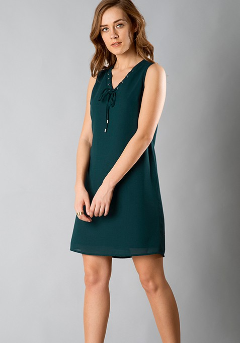 Lace-Up Shift Dress - Teal