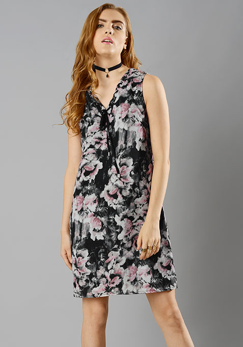 Lace-Up Shift Dress - Floral
