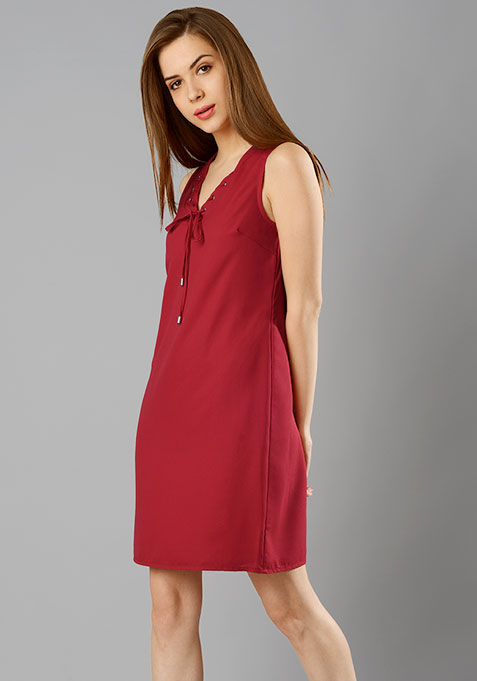 Lace-Up Shift Dress - Cerise