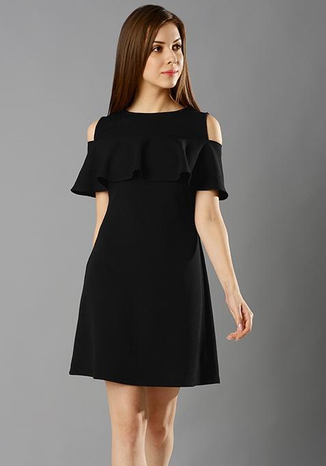 Ruffled Cold Shoulder Dress - Black