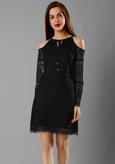 Cold Shoulder Lace Mini Dress - Black