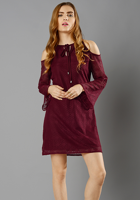 Cold Shoulder Lace Mini Dress - Oxblood