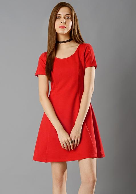 Paneled A-Line Dress - Red