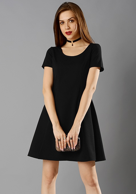 Paneled A-Line Dress - Black