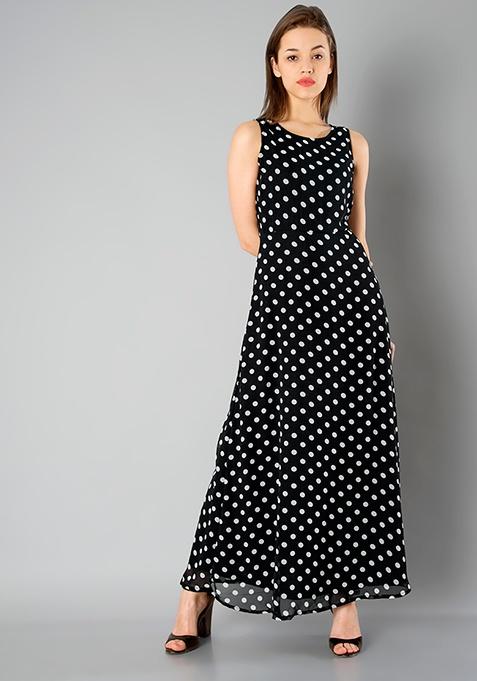Black Polka Maxi Dress