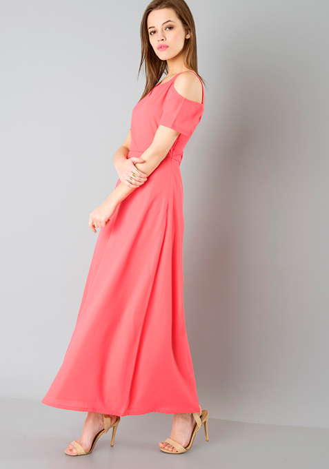 Coral Fix Cold Shoulder Maxi Dress